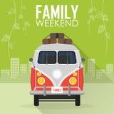 Vacances de famille, voiture avec le bagage Image libre de droits