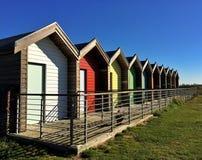Vacances de huttes de plage dans le Northumberland Photos stock