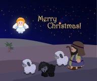 Vacances de Joyeux Noël, scène de nativité Image stock
