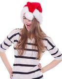 Vacances de Noël heureux de belle fille et de nouvelle année complètement d'amusement Photos libres de droits