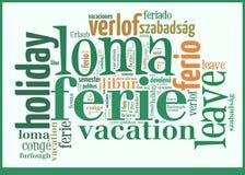 Vacances de nuage de Word dans différentes langues Photos libres de droits