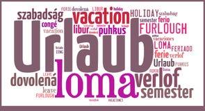 Vacances de nuage de Word dans différentes langues Image libre de droits