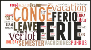 Vacances de nuage de Word dans différentes langues Photo libre de droits