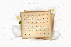 vacances de pâque Le cadre décoratif avec des oeufs, pain azyme, ressort fleurit, herbe Descripteur de conception Illustration illustration stock