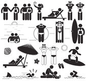 Vacances de plage d'été Pictogrammes réglés de bâton de vecteur et vacances de symboles à la mer Photo stock