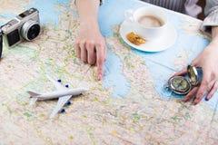 Vacances de planification de voyage de voyage photos libres de droits