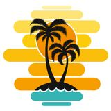 Vacances de tourisme du soleil d'île de tropiques de voyage d'impression d'art de conception d'océan de mer de vagues de coucher  illustration de vecteur