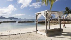 Vacances de touristes de plage en Seychelles Images libres de droits