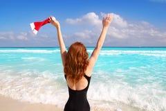 Vacances de touristes des Caraïbe de Noël de femme de Santa Photo stock