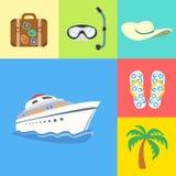 Vacances de vacances et icônes de voyage réglées Images libres de droits