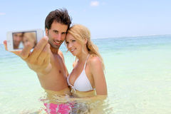 Vacances drôles sur l'île paradisiaque Photo libre de droits
