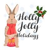 Vacances gaies de houx inscription avec un lapin mignon et des flocons de neige illustration de vecteur