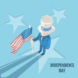 Vacances heureuses d'Américain de Jour de la Déclaration d'Indépendance d'oncle Sam Hold United States Flag Photo stock