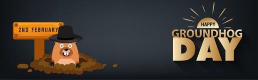 Vacances heureuses de carte de jour de groundhog Photo libre de droits