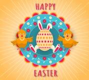 Vacances heureuses de Pâques Oeuf avec les oreilles de lapin et les pattes, deux poulets drôles sur un fond floral coloré illustration stock