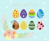 Vacances heureuses de Pâques Oeufs de pâques briller sur le fond bleu Illustration de vecteur Carte de voeux heureuse de Pâques Photos stock