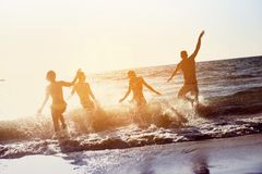 Vacances heureuses de vacances de plage d'amis Photos libres de droits