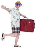 Vacances heureuses drôles de vacances de voyage de touristes d'isolement Images stock