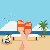 Vacances heureuses sur la conception plate de plage Photo stock