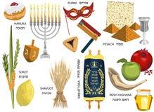 Vacances juives d'Israélien d'icônes de vacances illustration de vecteur