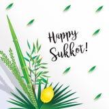 Vacances juives de carte de Rosh Hashanah de festival de Sukkot illustration stock
