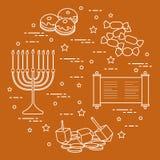 Vacances juives Hanoucca : dreidel, sivivon, menorah, pièces de monnaie, beignet Images stock