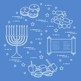 Vacances juives Hanoucca : dreidel, sivivon, menorah, pièces de monnaie, beignet Photographie stock libre de droits