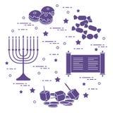 Vacances juives Hanoucca : dreidel, sivivon, menorah, pièces de monnaie, beignet Image stock
