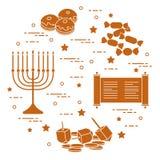 Vacances juives Hanoucca : dreidel, sivivon, menorah, pièces de monnaie, beignet Illustration Stock