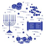 Vacances juives Hanoucca : dreidel, sivivon, menorah, pièces de monnaie, beignet illustration de vecteur