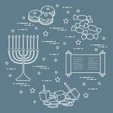 Vacances juives Hanoucca : dreidel, sivivon, menorah, pièces de monnaie, butées toriques et autre Concevez pour la carte postale, illustration libre de droits