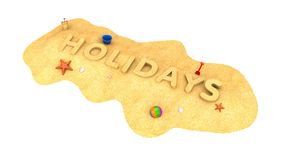 Vacances - le mot du sable Photographie stock