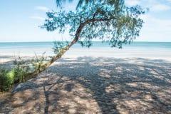 Vacances, mer bleue à la lumière du soleil douce d'après-midi sur une plage vide photos stock