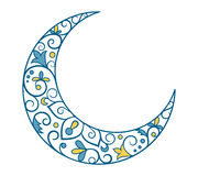 Vacances musulmanes Ramadan Kareem Crescent Moon Ornament Icon Sign I Image stock