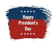 Vacances nationales de Day USA du Président heureux Carte de voeux avec le drapeau américain des Etats-Unis, les caractères gras  illustration stock