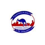 Vacances nationales de drapeau de timbre de kangourou de jour d'Australie illustration de vecteur