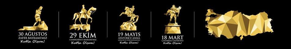 Vacances nationales et Jours du Souvenir célébrés en Turquie Statue et monuments de Mustafa Kemal Ataturk Photos stock