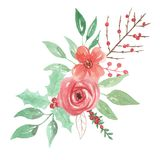 Vacances pour aquarelle de Berry Holly Leaf Leaves Christmas Bouquet Arrangemnet de fête Images libres de droits