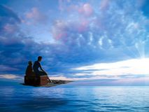 Vacances rêveuses sur le tapis de vol vers le soleil images libres de droits