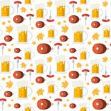 Vacances sans couture de festival de Ham And Beer Mugs Ornament Oktoberfest de modèle Image stock