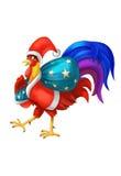 Vacances Santa Claus Rooster avec un sac des cadeaux Célébration d'an neuf Illustration Libre de Droits