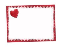 Vacances sensibles, carte de dentelle St Jour de Valentines Photos stock