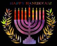 Vacances traditionnelles juives Hannukah Carte de voeux d'aquarelle Photo stock