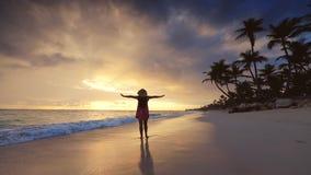 Vacances tropicales sur la plage d'île de paradis Femme heureuse dans la robe appréciant le lever de soleil de mer La r?publique  banque de vidéos