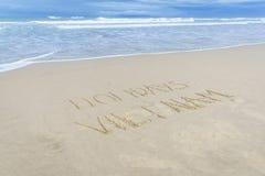 Vacances Vietnam écrit en sable Photos libres de droits