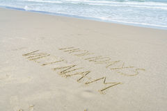 Vacances Vietnam écrit en sable Photos stock