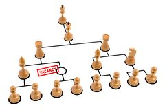 Vacancy. Organization chart made by chess pieces with a vacancy royalty free illustration