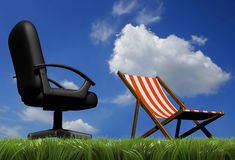 Vacancy. Office chair and lounge chair in grass - vacancy concept - rendered in 3d vector illustration