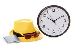 Vacancy concept. Clock, passport and sunglasses. On hipster hat royalty free stock images