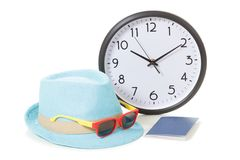 Vacancy concept. Clock, passport and sunglasses. On hipster hat royalty free stock photos